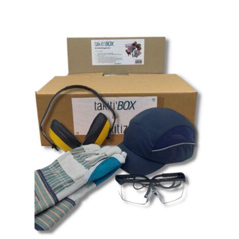 Kit de jardinage : gants, lunettes, casquette et casque anti-bruit