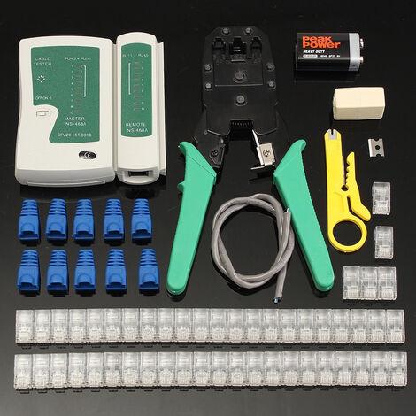 Kit de LAN Ethernet, herramienta de engarzado de cable, probador de cable RJ45 pelacables