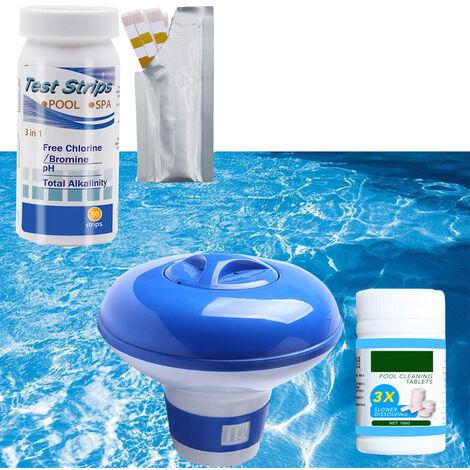 Kit de Limpieza Accesorios Piscina estanque de jardin tiras reactivas Spa Inicio flotante dispensador de tabletas, con el papel de las pruebas + pastilla efervescente