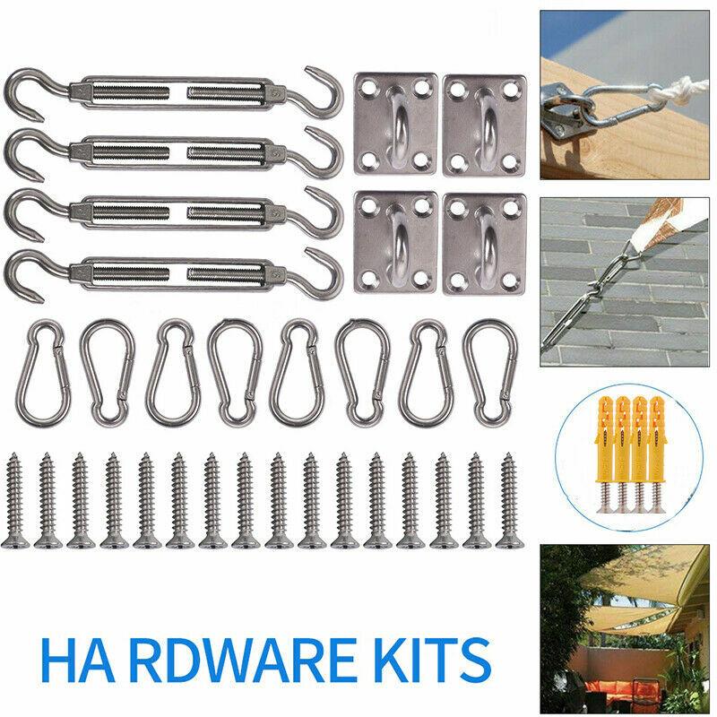 Maxi - Kit de l'installation en Acier de Haute Qualité Inoxydable 304 pour Voiles d'ombrage/Auvents Triangle/carré/Rectangle de