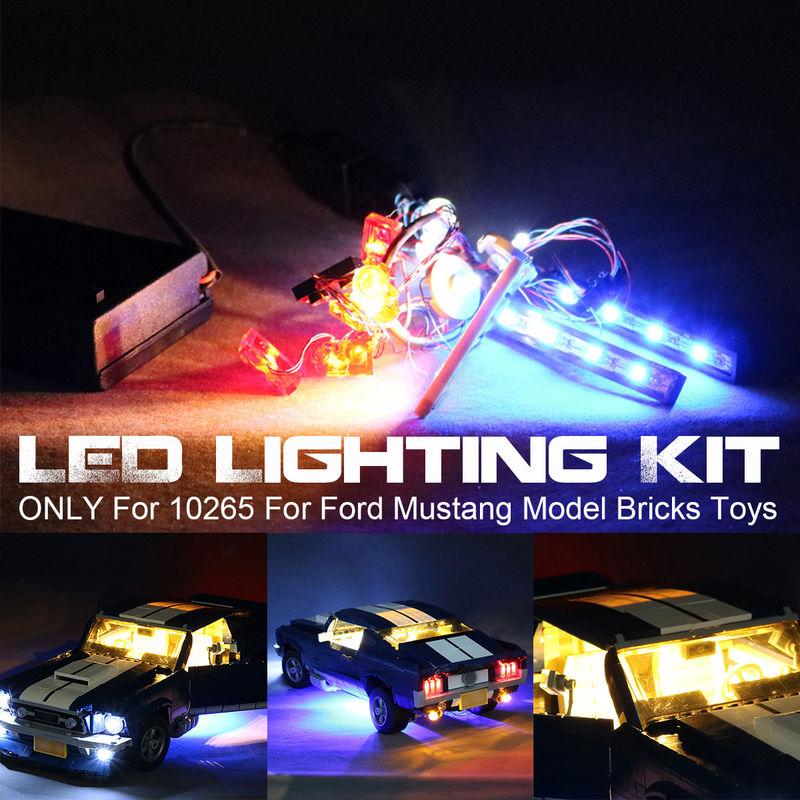 Kit de luz LED con caja de batería SOLO para 10265 para juguetes de ladrillos modelo Ford Mustang Sasicare