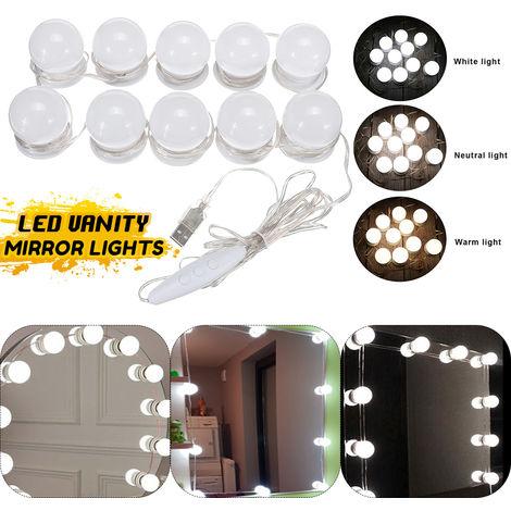 Kit de luz LED regulable para baño espejo cosmético 3 colores 6 niveles de brillo