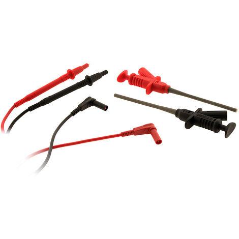 Kit de mesure: 2 grip-tests à pince + 2 cordons de sécurité coudés + 2 pointes de touches avec protection + 2 pointes lisses Ø2mm. - Zenitech