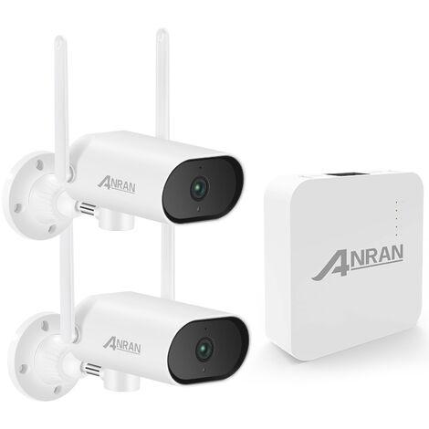 Kit de monitoreo inalambrico para el hogar, NVR de 4 canales + 2 piezas de camara de seguridad inalambrica de alta definicion de 3 MP, IP66 a prueba de agua, sin tarjeta de memoria
