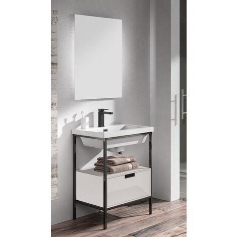 KIT de Mueble de Baño Modelo CLASSIC RESINA con un Cajón, Formado por Mueble de Baño , Lavabo de Resina y Espejo