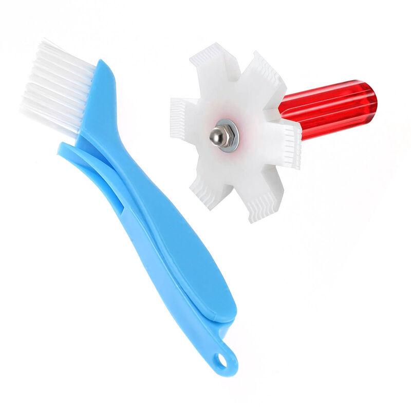 Kit De Nettoyage De Radiateur De Climatiseur De Condenseur De Refrigerateur, 1 Brosse Pliante Bleue + 1 Peigne a Ailettes En Plastique Blanc