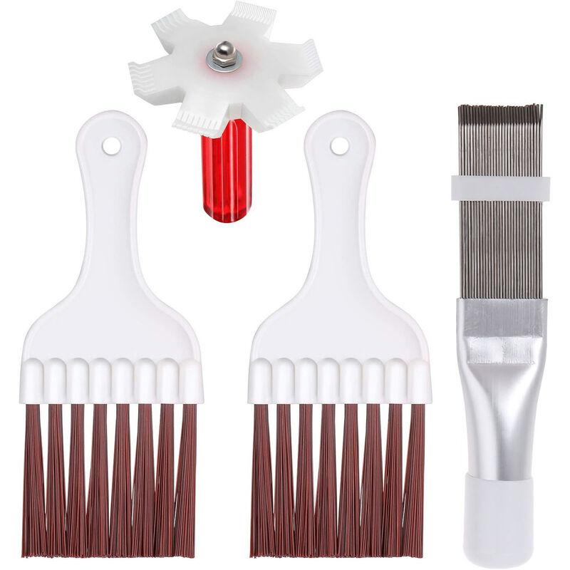 Kit De Nettoyage De Radiateur De Climatiseur De Condenseur De Refrigerateur, 2 Brosses + 1 Peigne a Ailettes En Plastique Blanc + 1 Peigne a Ailettes