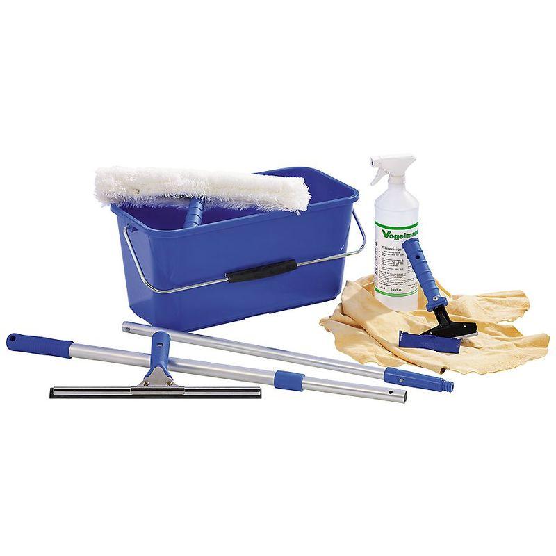 Kit de nettoyage des vitres - raclette éponge, raclette, seau - manche télescopique, grattoir, nettoyant pour vitres