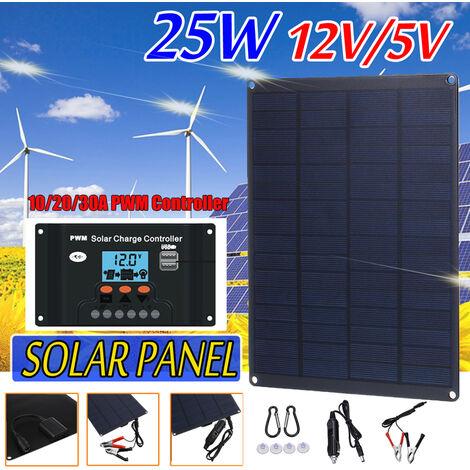 """main image of """"Kit de panel solar de 25W 12V / 5V cargador de batería monocristalino RV autocaravana barco que viaja con controlador 10/20 / 30A PWM"""""""