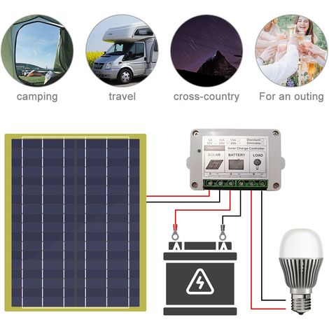 Kit de panneau solaire 20W Panneau solaire 20W et diode + contrôleur pour abri de voiture moto