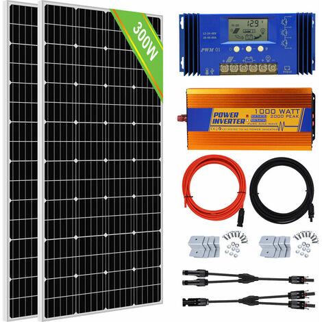 Kit de panneau solaire 300W 20A 60A contrôleur solaire LCD 1000W 12V-220V onduleur hors réseau
