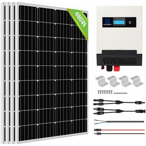 Kit de panneau solaire ECO-WORTHY 480W Kit d'onduleur de Charge solaire à onde sinusoïdale pure pour cabanon