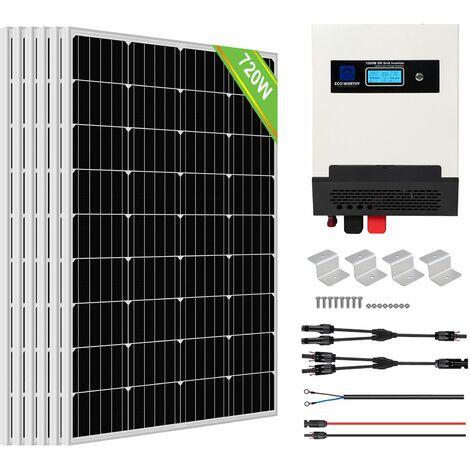Kit de panneau solaire ECO-WORTHY 720W Kit d'onduleur de Charge solaire à onde sinusoïdale pure pour cabanon