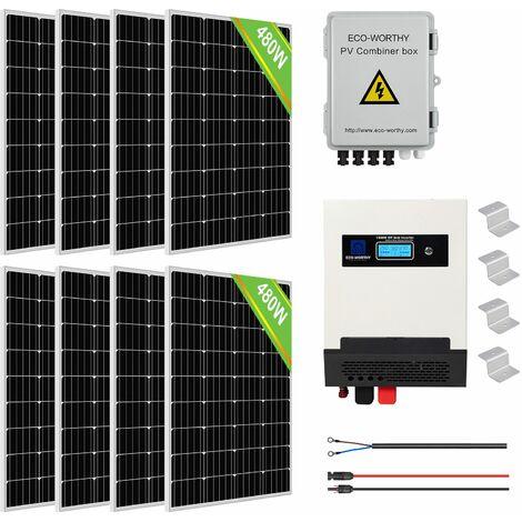 Kit de panneau solaire ECO-WORTHY 960W Kit d'onduleur de Charge solaire à onde sinusoïdale pure pour cabanon