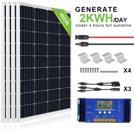 Kit de panneaux solaires hors réseau 480W 24V 4x panneau 120W avec contrôleur et supports 20A