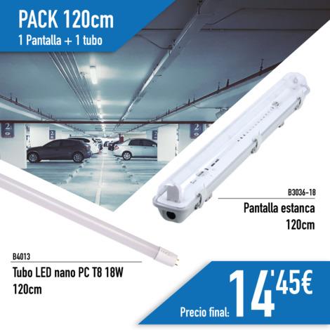 Kit de Pantalla Estanca con 1 Tubo LED T8 cristal 120cm