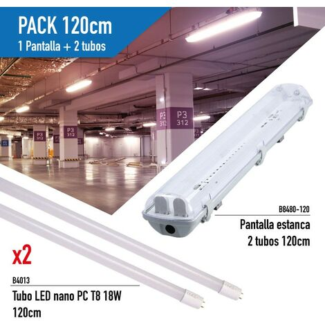 Kit de Pantalla Estanca con 2 Tubos LED T8 cristal 120cm
