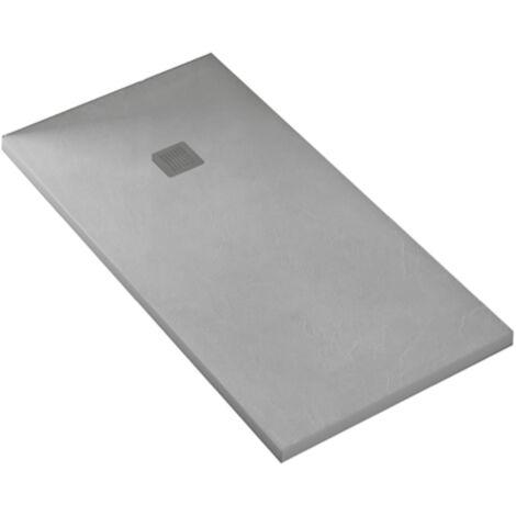 KIT de Plato de ducha de resina antidezlizante 70x130cm color Gris + Mampara frontal 130cm con cristal de seguirdad 4mm