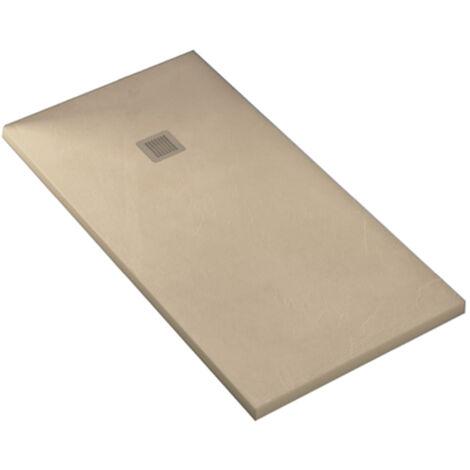 KIT de Plato de ducha de resina antidezlizante 80x140cm Color crema+ Mampara frontal 140cm con cristal de seguirdad 4mm