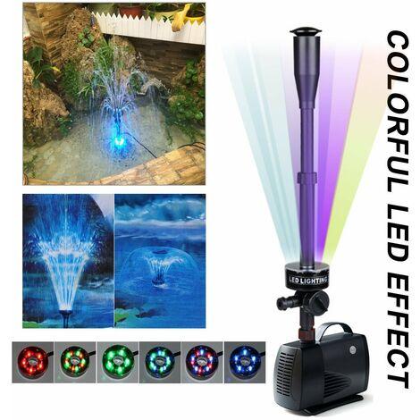 Kit de pompe à eau avec tête de pulvérisation de champignons et de fleurs, pour Koi Goldfish Pond Aquarium Fountain Pool Garden Statuary Fish Tank - Avec 30 lumières colorées LED, 5 couleurs