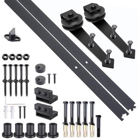 Kit de porte coulissante système galandage pour porte épaisseur 35-45 mm largeur max. 1 m charge max. 100 Kg acier brun foncé - Noir