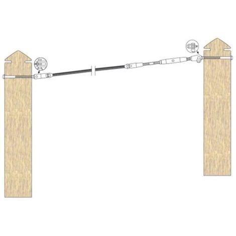 kit de pose inox 316 pour câble inox Ø 4 mm montage traversant orientable entre poteaux bois