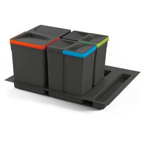 Kit de poubelles à base Recycle pour tiroir de module 600 mm Emuca 15L, 7L, 7L