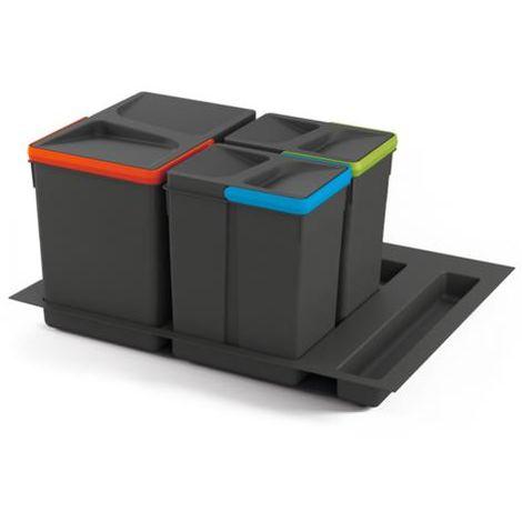 Emuca kit de poubelles, 15 l + 7 l + 7 l, module 600 mm, plastique, gris anthracite, 3 ut. + base