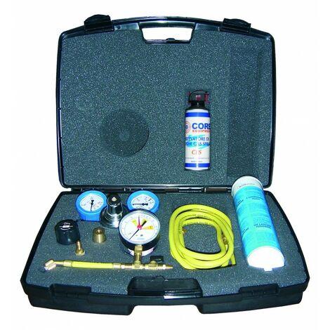 Kit de pressurisation des installations avec azote muni d'une bouteille d'azote et d'un détecteur de fuites spray