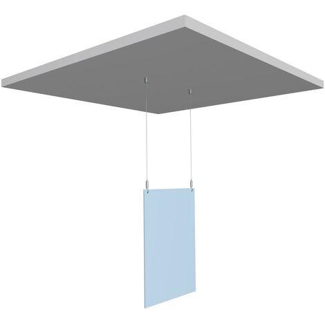Kit de protection écran plexi suspendu au plafond pour caisse / comptoir - système anti postillons - Dimension plexi : 75 x 100 cm
