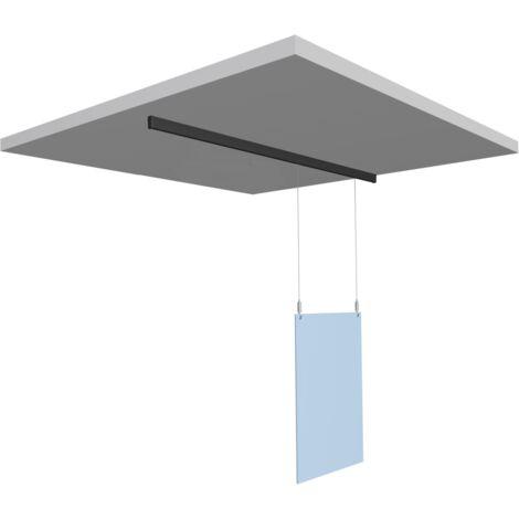 Kit de protection écran plexi suspendu au plafond sur rail pour caisse - système anti postillons - Dimension plexi : 75 x 100 cm