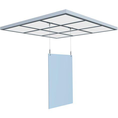 Kit de protection écran plexi suspendu sur faux plafond pour séparation d'espace anti-virus 75 x 100 cm - Dimension plexi : 75 x 100 cm