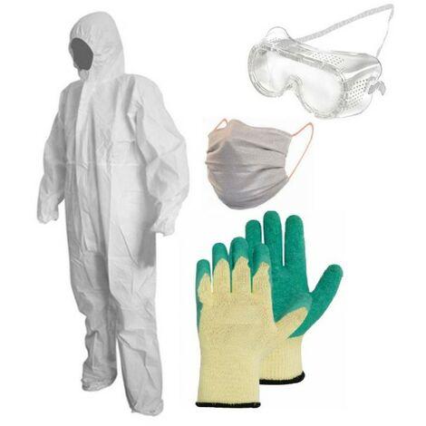 Kit de protection pulverisation BRIXO jardin et bricolage combi taille XL + gants + lunettes + masque UNS2