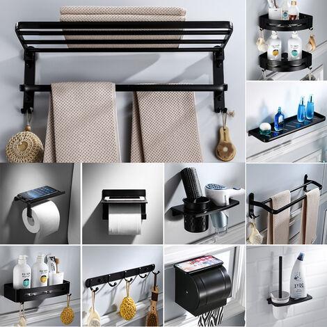 Kit de quincaillerie de salle de bain Bella Porte-serviettes noir non perfore etagere de salle de bain Accessoires de salle de bain Ensemble longue boite amouchoirs