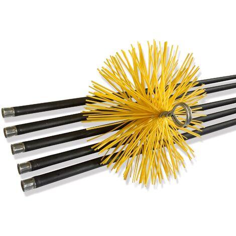 Kit de ramonage conduits gainés | Brosse hérisson synthétique | 7 mètres en 5 cannes de 1,40 m - Ø 180 mm - Kit complet nylon
