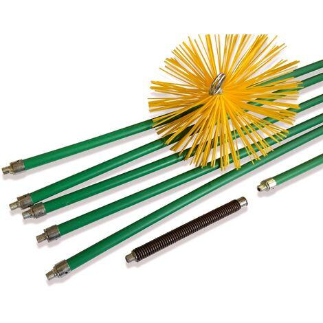 Kit de ramonage pro conduits gainés | Hérisson synthétique | 8,50 m en 6 cannes autobloquantes | Ressort de départ - Ø 250 mm - Kit complet nylon