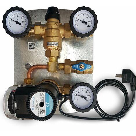 Kit de recirculation d' eau chaude sanitaire avec circulateur à haute prévalence pour bouilloires à accumulation. de sonde de température et minuterie