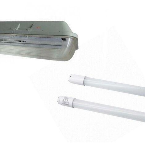 Kit de Réglette LED étanche Double pour Tubes T8 120cm IP65 (2 Tubes Néon LED 120cm T8 20W inclus)