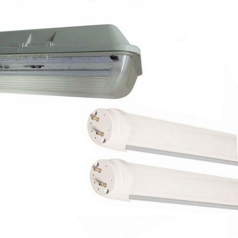 Kit de Réglette LED étanche Double pour Tubes T8 120cm IP65 (2 Tubes Néon LED 120cm T8 36W inclus)