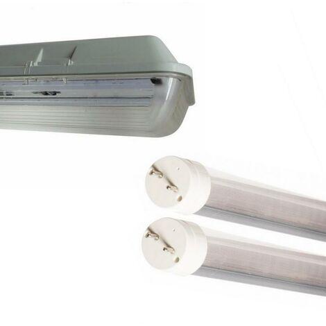 Kit de Réglette LED étanche Double pour Tubes T8 150cm IP65 (2 Tubes Néon LED 150cm T8 24W inclus)