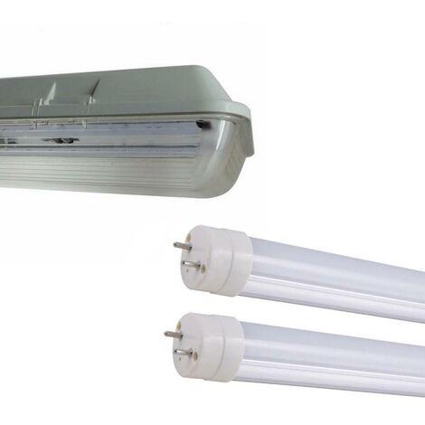 Kit de Réglette LED étanche Double pour Tubes T8 150cm IP65 (2 Tubes Néon LED 150cm T8 50W inclus)