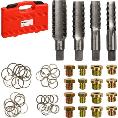 Kit de Réparation de Filetage des Boîtes de Vitesse et Carters avec 20 Bouchons de Vidange M13, M15, M17 et M20