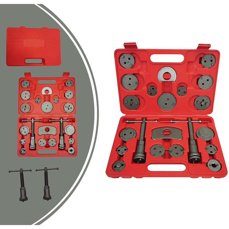 Leogreen - Kit de Réparation pour Repousse Piston, Set d'Outils pour Étrier de Frein, 21 pièces, avec une mallette rouge, Matériau: Acier C45