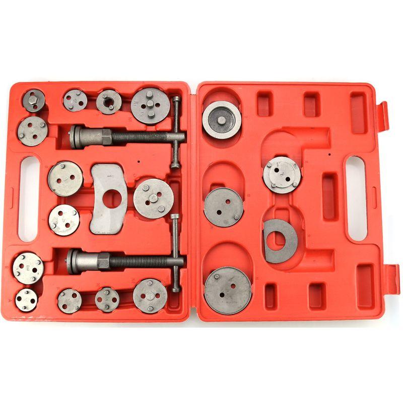 Oobest - Kit de Réparation pour Repousse Piston, Set d'Outils pour Étrier de Frein, avec une mallette rouge, 21 pièces, Matériau: Acier C45