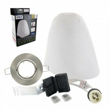 Kit de réservation étanche Spotbox - Ø 75 mm - Pour spot LED GU10 10W - Collerette alu brossé