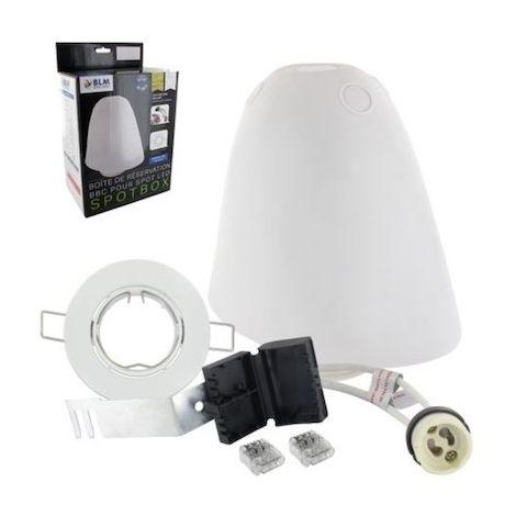 Kit de réservation étanche Spotbox - Ø 75 mm - Pour spot LED GU10 10W - Collerette blanche
