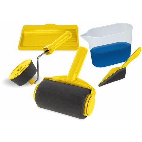 Kit de rouleaux de peinture avec réservoir intégré FACIL'ROLLER, application sans traces sur toute surface, facile d'utilisation