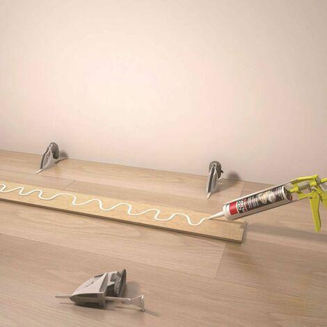Kit de serrage et de calage pour plinthes, 10supports et 10 languettes