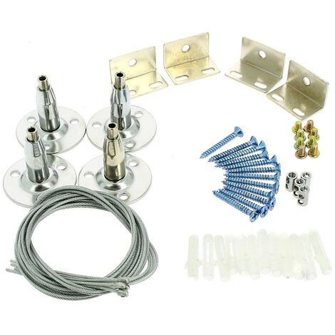Kit de suspension pour dalle LED - 4 filins acier 100cm inclus fixation plafond
