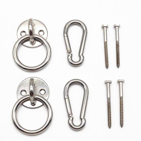 Kit de suspension pour hamac d'intérieur avec crochets mousquetons et vis en acier inoxydable